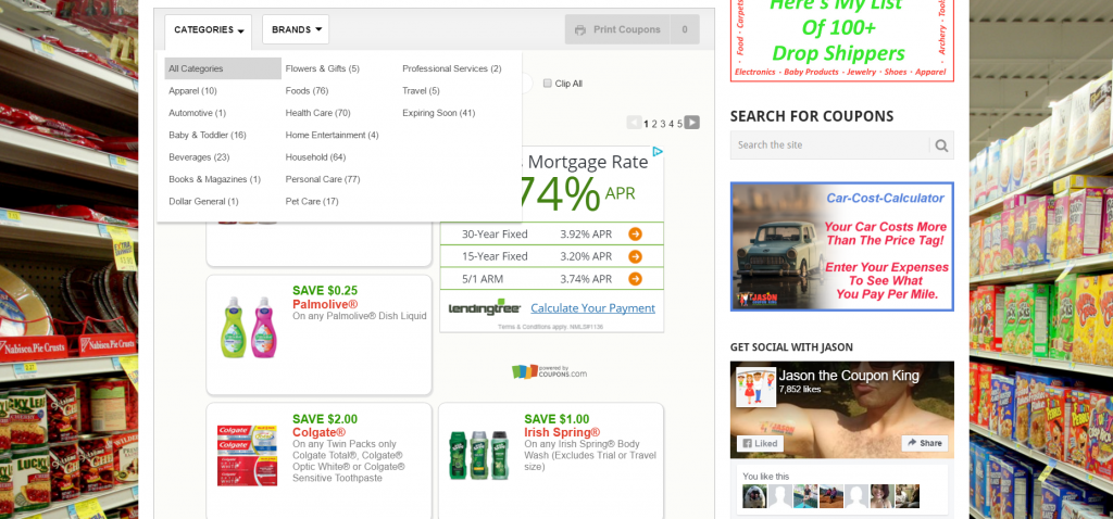 search coupons by category