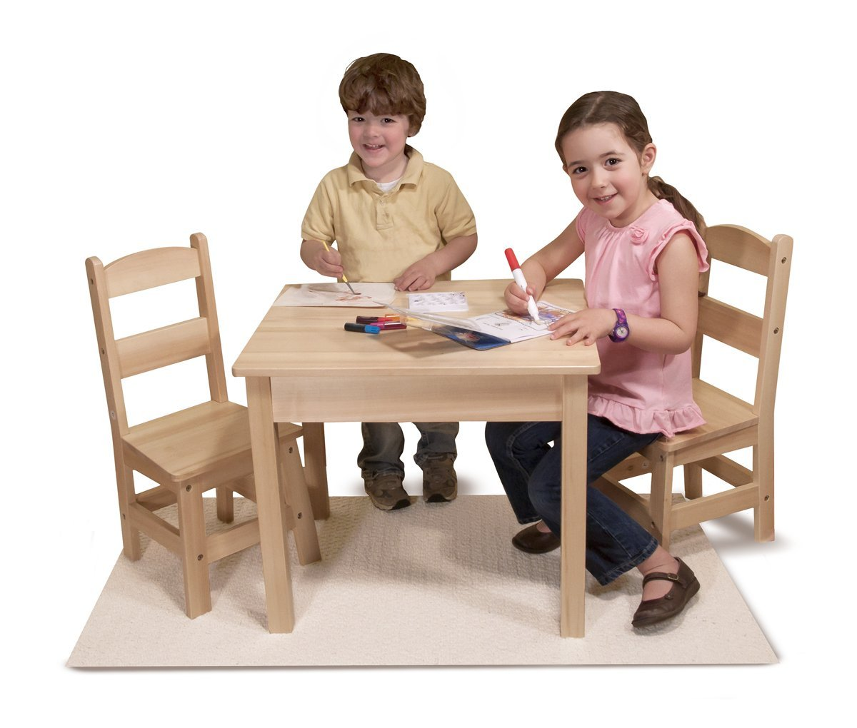 Melissa and doug wooden kids table save 60 for Kids sitting furniture