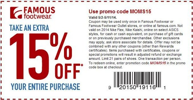 Famous Footwear 15 Off Entire Purchase Printable Coupon