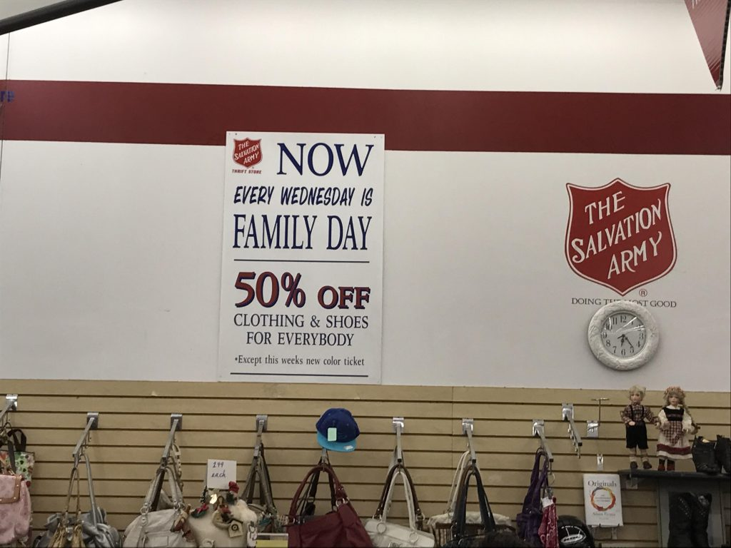 salvation army 50% off